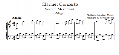 Clarinet Concerto In A Major 2nd Movement Wolfgang Amadeus Mozart Piano