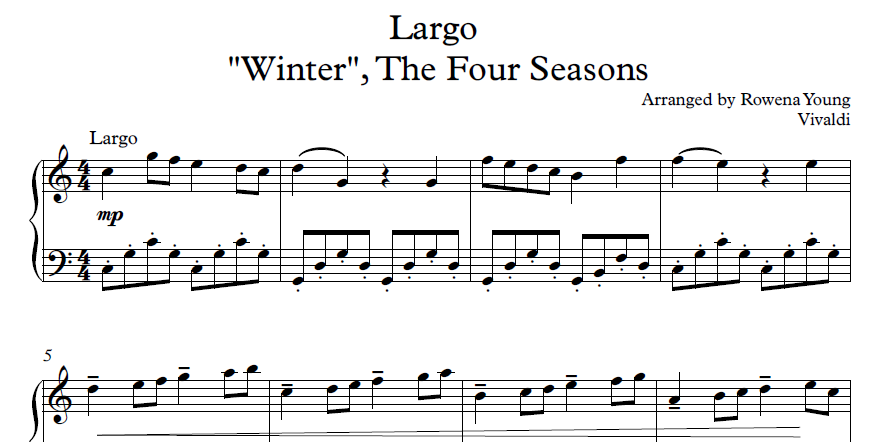 Seasons Of Largo >> Winter Largo From The Four Seasons Antonio Lucio Vivaldi